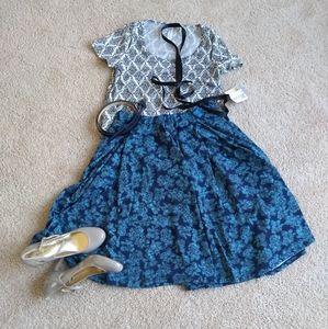 Lularoe Madison Skirt- blue on blue floral, small
